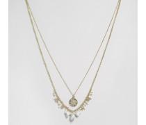 Pave Disc Mehrreihige Halskette mit Sternen und Perlen Gold