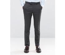 Camden Superschmale Anzughose in Charcoal Overcheck Grau