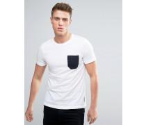 T-Shirt mit Kontrasttasche Weiß