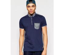 Braves Soul Polohemd mit farblich abgesetzter Tasche Marineblau