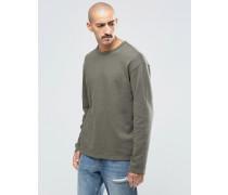 Simon Sweatshirt aus Fleece mit unverarbeitetem Saum Grün