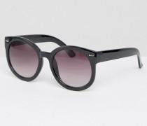 Übergroße, runde Sonnenbrille Schwarz