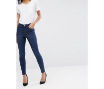 RIDLEY Enge Jeans in dunkler James-Waschung mit ausgelassenem Saum Blau