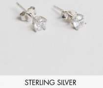 Kristall-Ohrstecker aus Sterlingsilber Silber