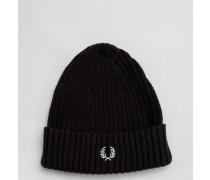Gerippte Mütze mit Logo Schwarz