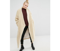 Langer Oversize-Mantel aus Lammfellimitat Weiß