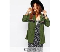 Verzierte Military-Festival-Jacke im Vintage-Stil Grün