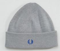 Graue Mütze aus Merinowolle mit Logo Grau