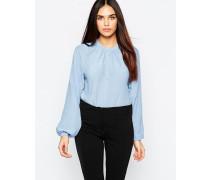 Kragenlose Bluse Blau