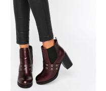 Chelsea-Stiefel mit Absatz und Ösendetail Rot