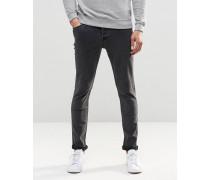 Schmal geschnittene Stretch-Jeans in verwaschenem Schwarz Schwarz