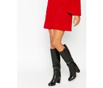 Overknee-Stiefel aus Leder Schwarz