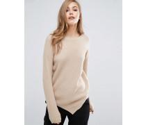 Gerippter Pullover mit asymmetrischem Saum Beige