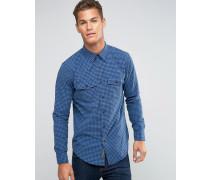 Hemd mit Button-Down-Kragen und blauem Karomuster Blau