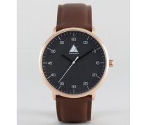 Braune Uhr mit goldenem Gehäuse Braun