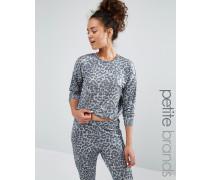 Pullover mit Leopardenprint Grau