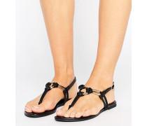 Sandalen in Lederoptik mit Knoten-Design Schwarz