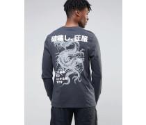 Langes, langärmliges Shirt mit Drachen-Print auf der Rückseite Schwarz