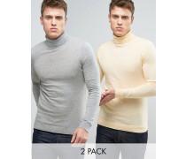 Rollkragenpullover mit Muskelform im 2er-Pack, Gelb/Grau, RABATT Mehrfarbig
