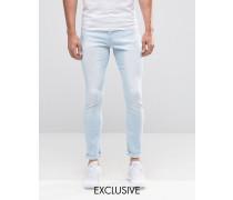 Brooklyn Supply Co Ice Wash Spray On Hunters Jeans im Used-Look Blau