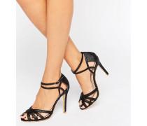 Schwarz glitzernde Absatz-Sandalen mit Knöchelriemen Schwarz
