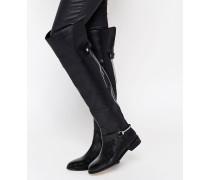 KAYDEN Overknee-Stiefel aus Leder Schwarz