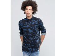 Bolt Blaues Flanellhemd mit Spacedye-Tarnmuster Blau