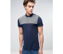 Polo With Knitted Detail In Navy Marineblau