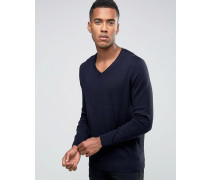 Pullover mit V-Ausschnitt in Marineblau Marineblau