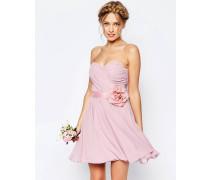 WEDDING Kurzes Bandeau-Kleid aus Chiffon mit abnehmbarem Blumengürtel Rosa