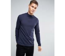 Langärmliges T-Shirt mit Rollkragen in Hellem Blaugrau Blau