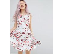 Skaterkleid mit Gürtel und romantischem Blumenprint Weiß
