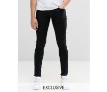 Brooklyn Supply Co Hunters Schwarze Jeans mit offenem Saum in Spray-On-Optik Schwarz