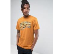 T-Shirt mit Tarnmuster und Bogenlogo Braun