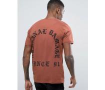 T-Shirt mit Old English-Print hinten Braun