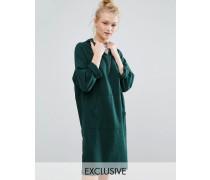 Pulloverkleid mit Kapuze und Reißverschluss am Ausschnitt Grün