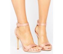 Satin-Sandalen mit Absatz Steingrau