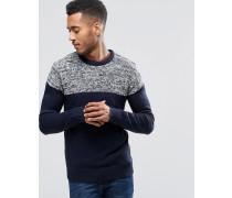 Pullover mit Reverseinsatz Marineblau