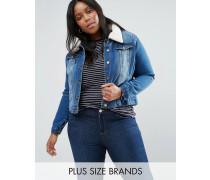 Plus Jeansjacke mit Kragen in Lammfelloptik Blau