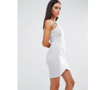 Figurbetontes Kleid mit asymmetrischem Saum Grau