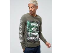 Langärmliges T-Shirt mit Statement-Blumenprint und Print an den Ärmeln Grün