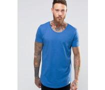 T-Shirt mit geformtem Saum in kornblumenblau meliert Blau