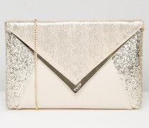 Clutch mit Paillettenmix Gold