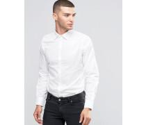 Schmal geschnittenes Hemd mit Kontrastknöpfen Weiß