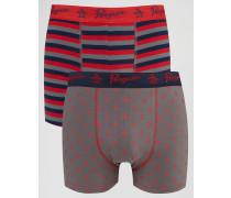 2er Pack Boxer-Shorts Rot