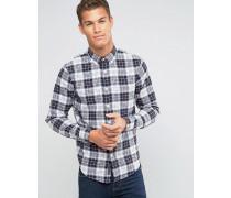Hemd mit Button-Down-Kragen, Fischgrätmuster und Karomuster in Weiß/Schwarz Schwarz