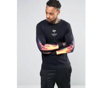 Langärmliges Shirt mit aufgedrucktem Feuer-Motiv auf den Ärmeln Schwarz