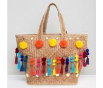 Strandtasche mit Bommeln und Quasten Mehrfarbig