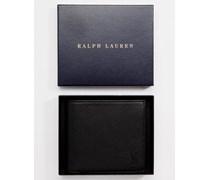Brieftasche aus Leder mit Münzfach Schwarz
