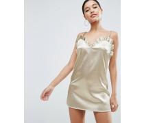 Minikleid mit Trägern und Rüschen vorn Gold